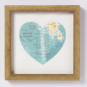 Maldives Map Heart Wedding Anniversary Print - personalised