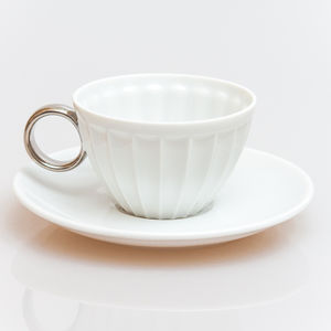 Handmade Ridged Espresso Cup With Saucer