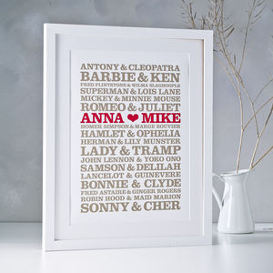 Personalised Couples Poster Print - engagement gifts