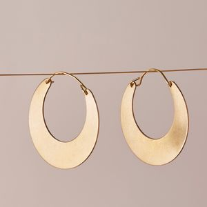 Gold Moon Hoop Earrings - earrings