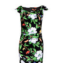 Vintage Black Tropical Floral Print Bodycon Dress