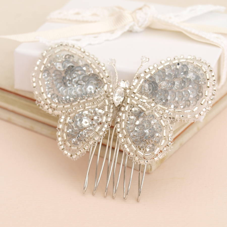 Butterfly Beaded Bridal Hair Comb