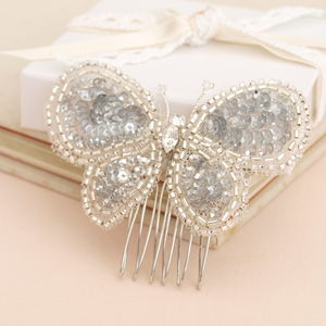 Butterfly Beaded Bridal Hair Comb - wedding fashion