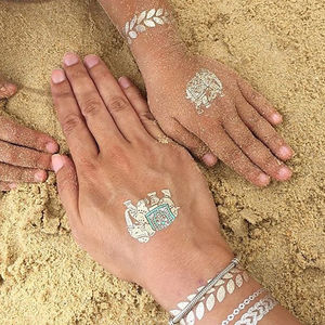 Beach And Elephant Metallic Jewellery Tattoo Set - temporary tattoos