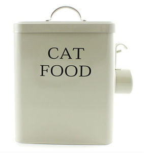 Cat Food Metal Storage Tin With Scoop - whatsnew
