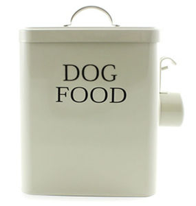 Dog Food Metal Storage Tin With Scoop