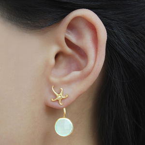 Aqua Chalcedony Gold Ocean Starfish Earring Jackets - earrings