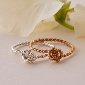 Twisted Knot Ring In Silver Or Gold