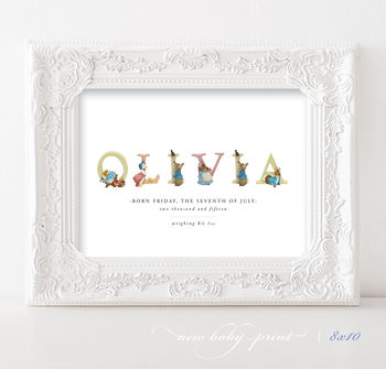Personalised Beatrix Potter Baby Print | Christmas Gift
