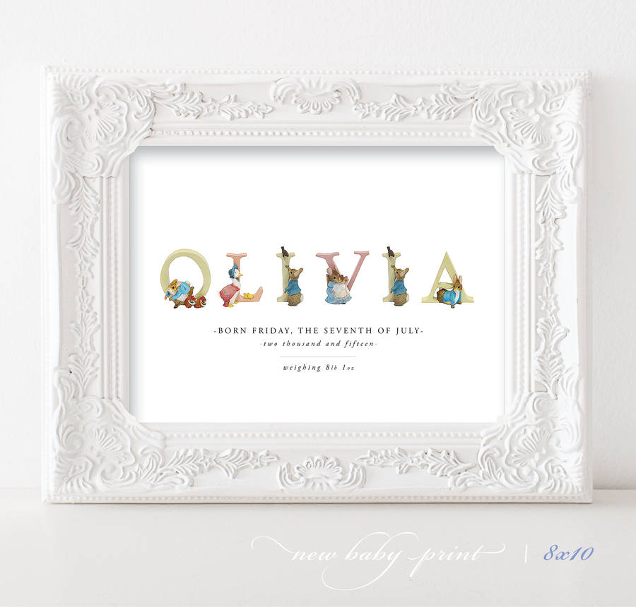 Personalised beatrix potter baby print easter gift by sweet pea personalised beatrix potter baby print easter gift negle Gallery