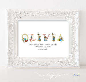 Personalised Beatrix Potter Nursery Baby Print - new baby gifts