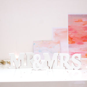 Mr And Mrs Decorative Letters Wedding Sign - winter sale