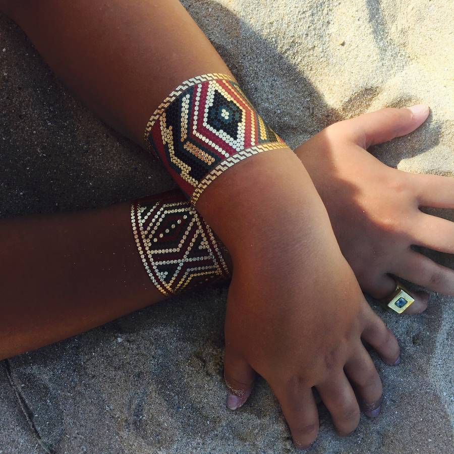 azzy aztec temporary metallic tattoo bracelets by azzy. Black Bedroom Furniture Sets. Home Design Ideas