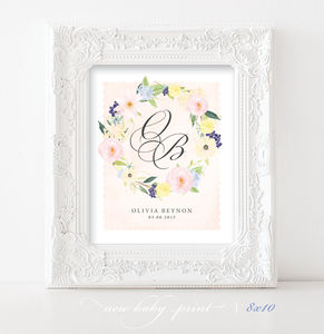Personalised Watercolour Floral Baby Print - christening gifts
