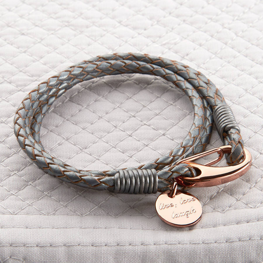 Leather Wrap Bracelet With Charms: Rose Gold And Leather Personalised Wrap Bracelet By