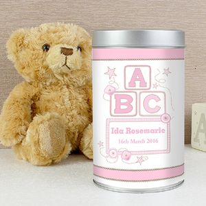 Personalised Pink Abc Teddy In A Tin