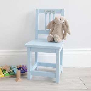 Personalised Blue Wooden Children's Chair - children's furniture