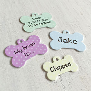 Polka Dot Bone Personalised Pet ID Tag - dogs