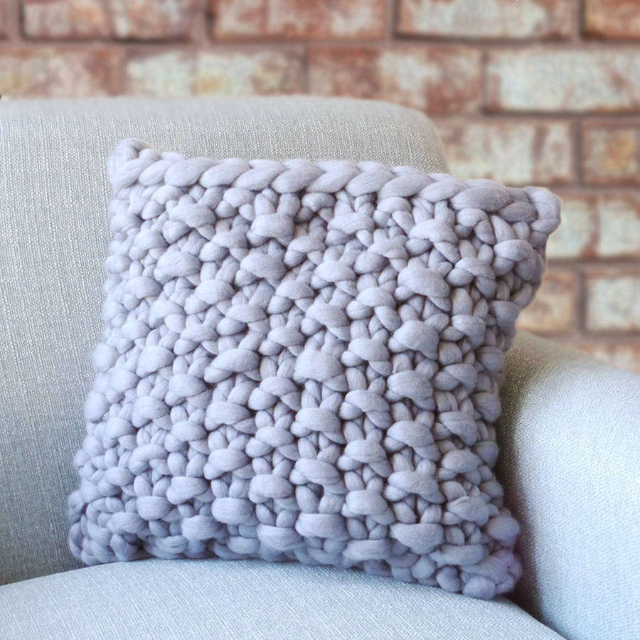 Knitting Pattern For Round Cushion Cover : cullompton classic chunky knitted panel cushion by lauren aston notonthehig...