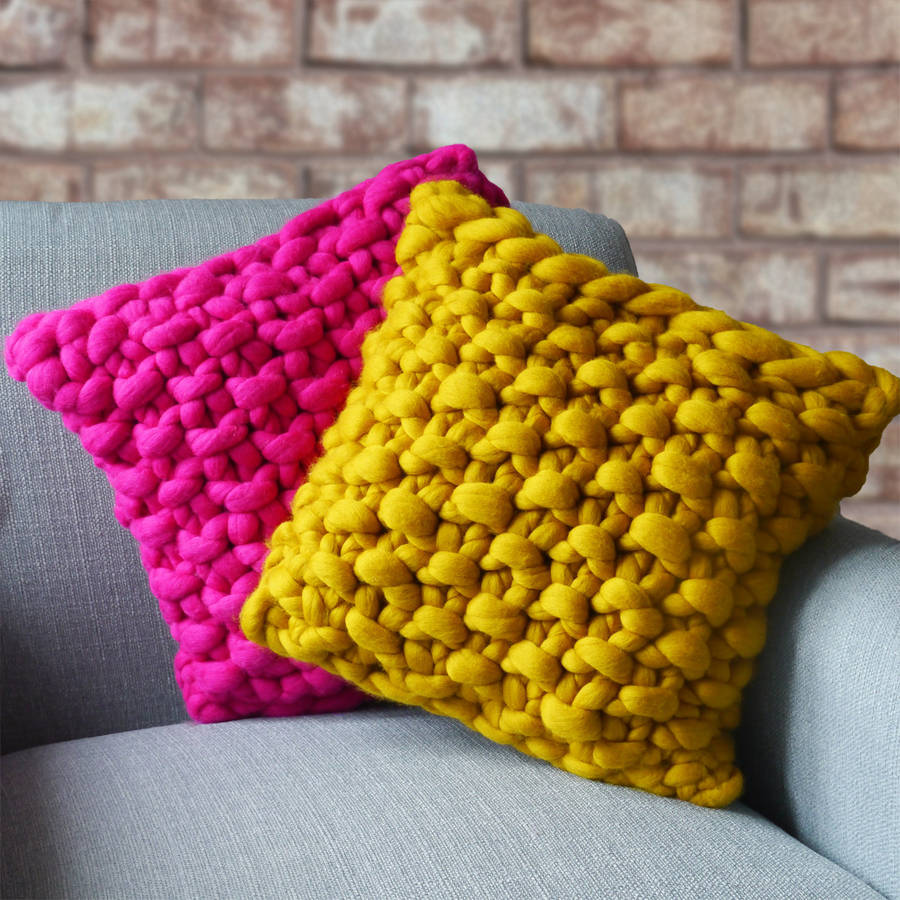 Cullompton colour chunky knitted panel cushion by lauren aston cullompton colour chunky knitted panel cushion bankloansurffo Gallery
