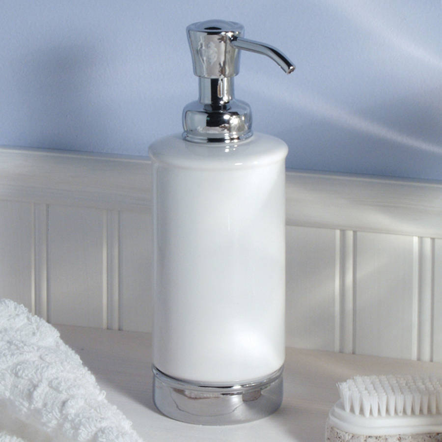 White soap dispenser and matching bathroom accessories by for Bathroom accessories for small bathrooms