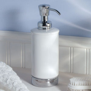 White Soap Dispenser And Matching Bathroom Accessories