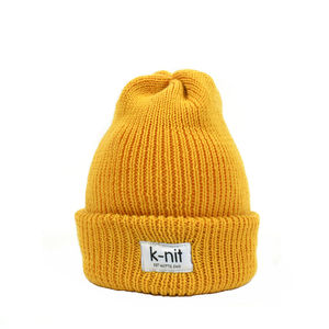 Bowen Merino Wool Turn Up Beanie Mustard - hats