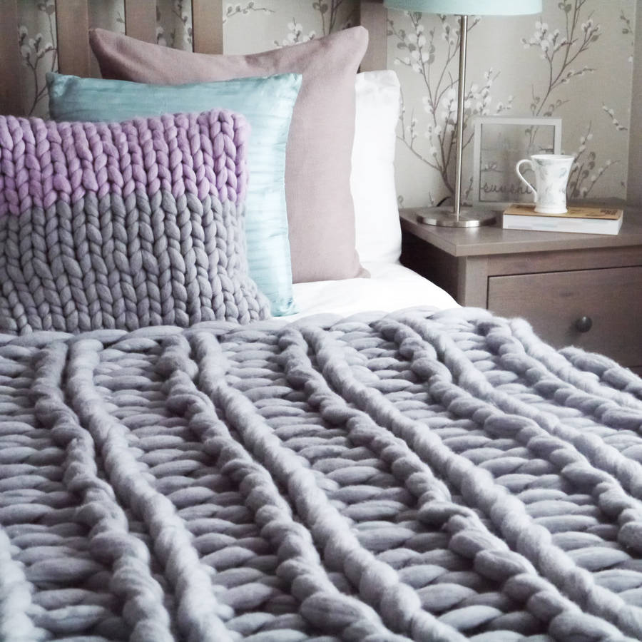 Knitting A Chunky Blanket : Yarnscombe chunky hand knitted throw by lauren aston