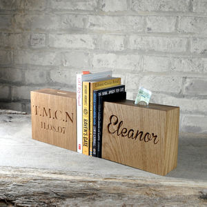 Solid Oak Money Box - christening gifts