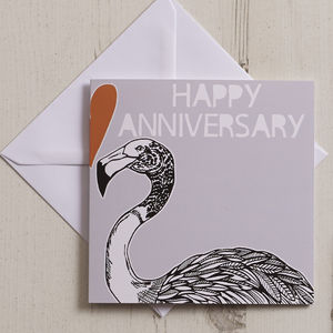 'Happy Anniversary' Flamingo Greeting Card