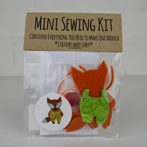 Mini Fox Brooch Sewing Kit - stocking fillers under £15