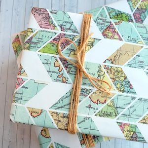 Map Design Wrapping Paper Sheets - ribbon & wrap