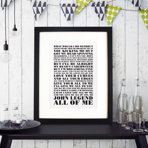 First Dance Song Print - personalised wedding gifts