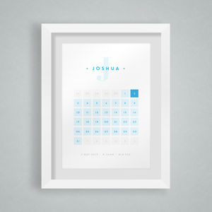 Personalised Calendar Birth Date Print - new baby gifts