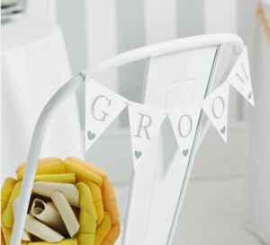 'Bride' And 'Groom' Signs - bunting & garlands