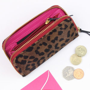 Undercover Leopard Leather Zipped Purse - gifts for her