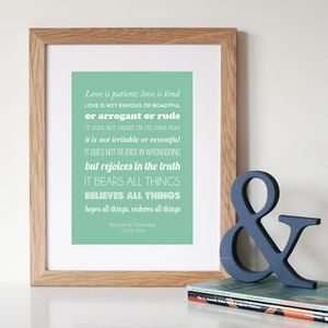 Personalised Corinthians Wedding/Anniversary Print - home sale
